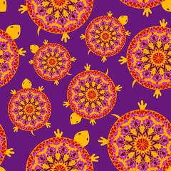 Seamless pattern of turtles