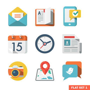 Basic Flat icon set for Web and Mobile Application. News, commun
