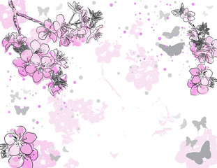 Retro floral background with a flower