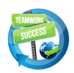 teamwork success street sign illustration
