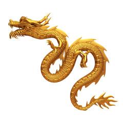 3d render of golden dragon