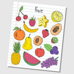 Fruit doodles - lined paper