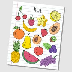 Fruit doodles - lined paper
