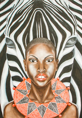 oil painting of a woman and zebra