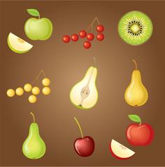 Set of fruit. vector, gradient, transparency, EPS10