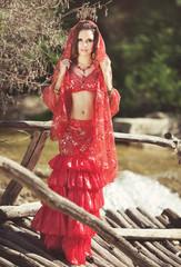 Bellydancer woman oriental dancer dancing bellydance indian girl