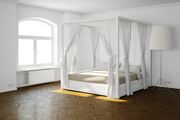 Sleeping room with bed