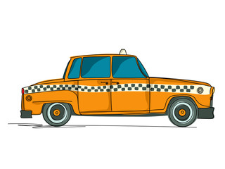 Foto op Plexiglas Doodle Cartoon yellow cab