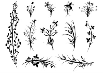 A set of silhouettes of flowers and plants on white background.