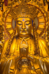 Close-up of Buddha at the temple of Jade