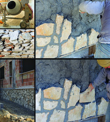 Collage - Worker plays a wall with stones