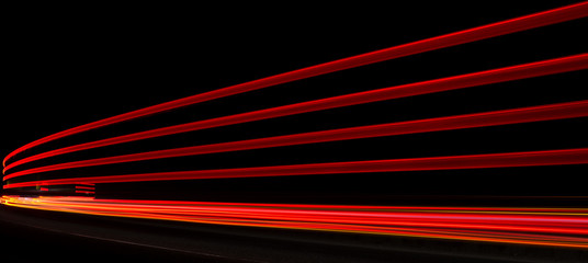 Abstract orange, red and yellow lights in road tunnel Fotomurales