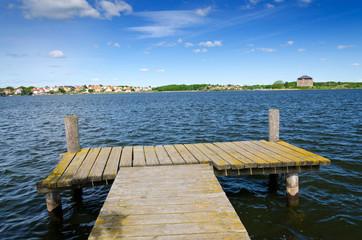 Wooden bridge in Karlskrona sea bay