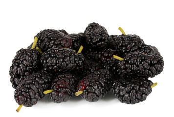 Ripe mulberries isolated on white