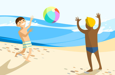 Two Boys Playing With Beach Ball On Beach Near Ocean
