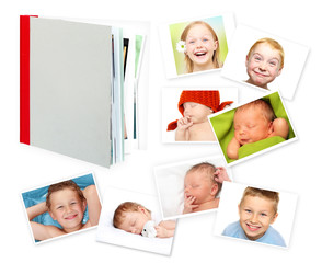 Photo album, photobook and photos against a white background