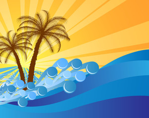 Abstract island text frame with palm trees