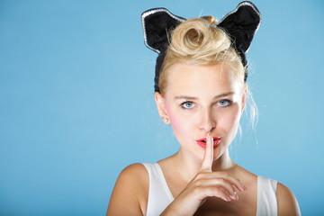 Pin up girl blowing a kiss - flirty