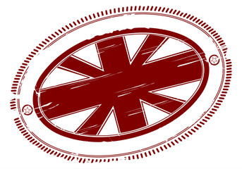 Union jack rubber stamp with place for any text in the middle.