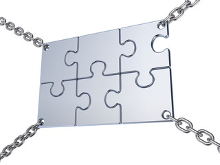 Jigsaw board sign on the chains.
