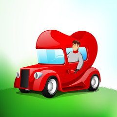 Young handsome boy driving heart shape vehicle.