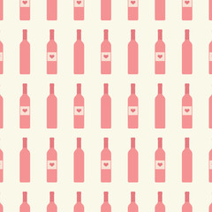 Bottles of wine with label seamless pattern