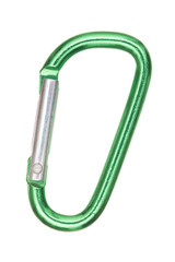 silver and green aluminum carabiner isolated on white background