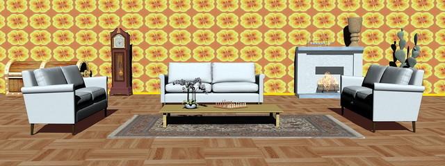 Modern apartment interior - 3D render