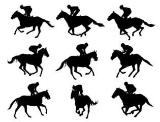 racing horses and jockeys silhouettes - vector