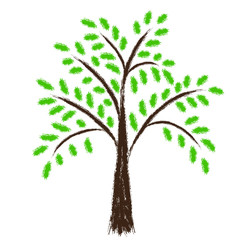Stylized vector tree with green leafs. Chalk draw