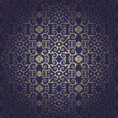 Seamless floral baroque background  blue