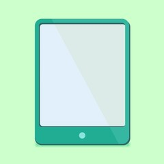 modern Flat Design - tablet pc in green in red trend colors