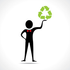 Man holding a recycle  icon vector
