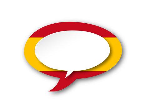 SPANISH LANGUAGE Icon (spain flag speech bubble español button)