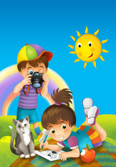 Cartoon scene with pair of kids - picnic - illustration for children