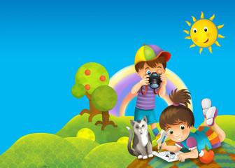 Cartoon scene of two kids in some park - illustration for children