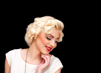 blond model like Marilyn Monroe in white dress with red lips