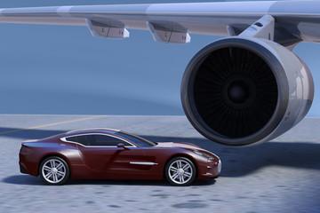 PKW vor dem Triebwerk eines Passagierflugzeugs auf dem Vorfeld