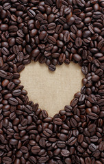 coffee lover sign, Pile of brown coffee beans in heart shape