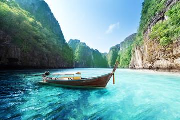 Printed kitchen splashbacks Light blue bay at Phi phi island in Thailand