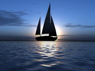 luxury yacht on sunrise background
