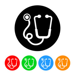 Stethoscope Icon Vector with Four Color Variations