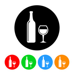 Wine Icon with Color Variations