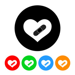 Heart with Bandage Icon with Color Variations