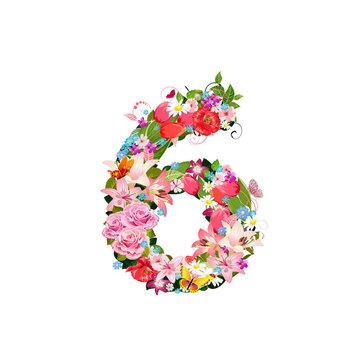 Romantic number of beautiful flowers 6