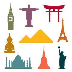 In de dag Doodle World famous monuments