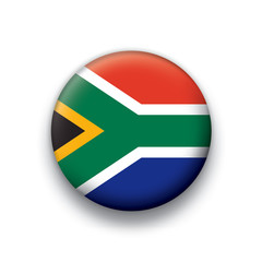 Vector flag button series South Africa