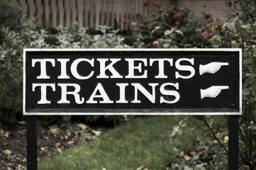 Sign for tickets and trains