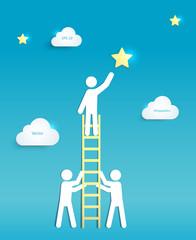 Man on Ladder reaching for Star Teamwork Concept