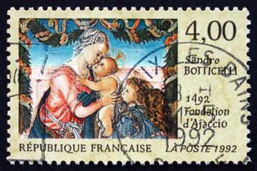 Deurstickers Imagination Postage stamp France 1992 Virgin and Child Beneath a Garland